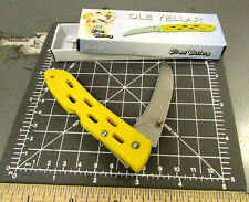 Ole Yellar pocket knife 3 7/8 closed brushed stainless steel blade liner lock