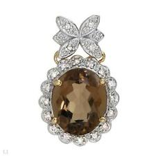 4.45ctw 2-Tone Smoky Topaz & Diamond Accent Pendant