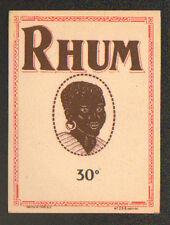 ETIQUETTE ANCIENNE de RHUM 30° / Portrait ANTILLAIS