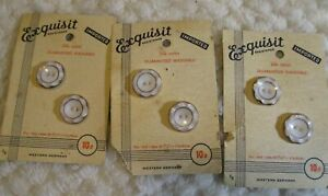 """6 ANTIQUE 3/4"""" BEAUTIFUL GLASS  2 Hole Buttons / 3 CARDS EXQUISIT WHITE W/ GOLD"""