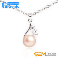 9-10mm Freshwater Pearl Gold Plated Frame Pendant Jewelry 12x22mm Free Shipping