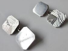 VINTAGE IN STERLING SILVER completamente marcata 1969 Diamond Cut Gemelli