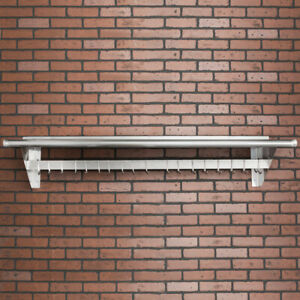 "CMI 15"" x 72"" Commercial Wall Mounted Pot Rack with Shelf and Hooks"