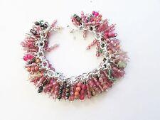 SOFT Pink& SILVER Black Vintage BEAD Charm BRACELET- Handcrafted OLD Beads-OOAK