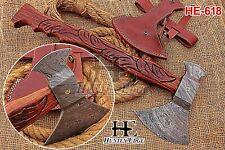 HUNTEX New Custom Hand-Forged Damascus Steel 20 Inch Long Walnut Wood Battle Axe