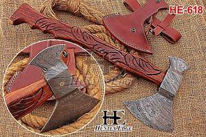HUNTEX New Custom Hand-Forged Damascus Steel 520 mm Long Walnut Wood Battle Axe