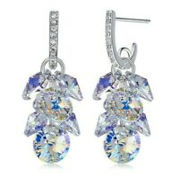 Dangle Earrings Swarovski Elements Crystal in Aurora Borealis with Gift Box