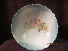 19th Century Hand Painted Victorain Flower Themed Serving Bowl w/ Ruffled Edge