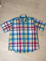 Alan Flusser Mens Shirt Sz Large Blue Plaid Button Down 100% Cotton Short Sleeve