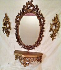Vintage Ornate Gold Syroco Set Wall Mirror, Shelf, Candle Sconces