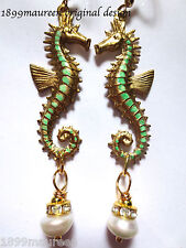 Art Nouveau Art Deco earrings Edwardian 1920s vintage stye real pearl drop long
