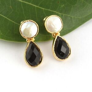 Natural Faceted Cut Chalcedony Jasper 24k Gold Plated Drop Dangle Charm Earrings