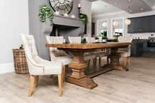 More details for rustic extending dining table oak kitchen table chunky pedestal base
