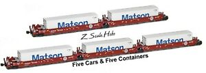 AZL 906509 Z Maxi-I BNSF Articulated Stacked 5-Car Set 237509 Matson Containers