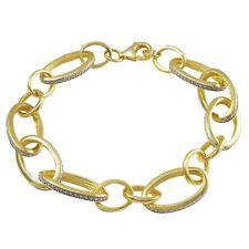 Open Oval Link Bracelet Sterling Silver Two-tone Finish