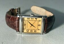 MENS EMPORIO ARMANI ANALOG TANQUE BROWN LEATHER BAND WATCH AR 0403