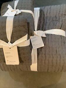 Pottery Barn Pickstitch Cotton Linen Quilt Full/Queen +2 Stnd Shams #2000