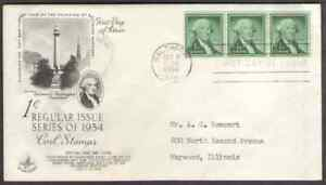 US. 1054c. 1c. George Washington, Liberty Issue. Artcraft FDC. 1954