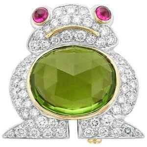 1.82ct Round Diamond 14k Solid White Gold Ruby Peridot Gemstone Fog Brooch Pin