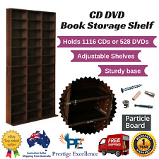 Adjustable CD DVD Bluray Media Book Storage Cabinet Shelf Rack Stand Unit BROWN