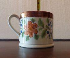 Antique Staffordshire Porter Mug/coffee ca1825 Pink Copper Luster/Floral Super!