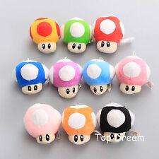 10X Super Mario Bros. Mushroom Plush Keychain Doll Toy 2.5'' Pendant Xmas Gift
