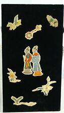 ANTIQUE 18c. CHINESE EMBROIDERY FORBIDDEN STICHES ROBE ELEMENTS