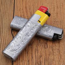 Silver case holder cover for regular size Cricket lighters floral pattern,DCRB1
