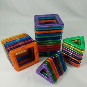 Lot Of 43 Magformers Magnetic Building Toys Squares and Triangles