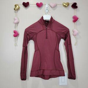 LULULEMON RUN FOR GOLD 1/2 ZIP Pullover Sweatshirt Jacket Womens Sz 2 Rust Berry