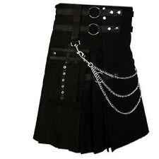Professional Scottish Black Leather Straps & Fashion Kilt With Beautiful Chains