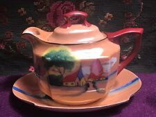 Vintage TRICO LUSTERWARE House and Water Landscape Scene Teapot (Japan)