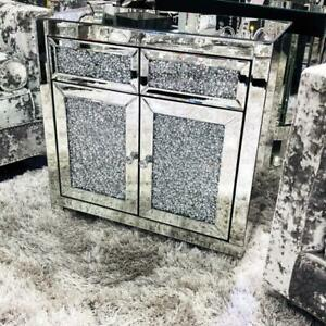 Luxury crushed diamond 2 drawer sideboard Mirror glitz sparkle Contemporary UK