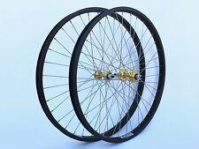 "New 26"" Geno BMX Cruiser Wheelset Black Anodize Rims Gold Hubs Wheel Set"