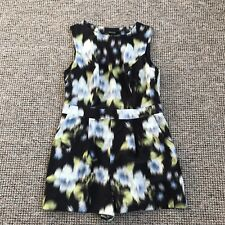 New Look 12 Playsuit Pockets Backless Black Floral Painterly Culottes Festival