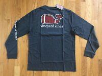NWT Vineyard Vines Men's LS Charcoal Football Whale Pocket T-Shirt Size M Or L