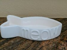 Cbs Designs Meow Fish Shaped Xlnt Cat Water Food Bowl Dish Feeder White Ceramic