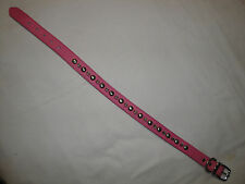 Pink Leather Silver Spiked Dog Collar 26""