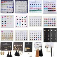 Charm Rhinestone Crystal Pearl Earrings Set Women Ear Stud Jewellery 12 Pairs
