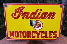 OLD VINTAGE 1950'S INDIAN MOTORCYCLES PORCELAIN ADVERTISING SIGN DEALER
