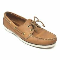 Men's VINTAGE LL Bean Boat Shoes Sneakers Size 8.5M Brown Leather Casual Moc X10