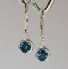 BEENJEWELED MINED LEVER-BACK DANGLE SKY BLUE TOPAZ EARRINGS~STERLING SILVER~6MM