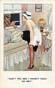 POSTCARD COMIC - PRETTY GIRL - NYLONS - NIGHT DRESS - BURGLAR