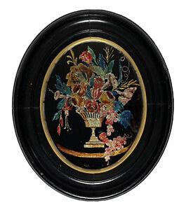 Antique TINSEL FOIL Reverse GLASS STILL LIFE PAINTING FLOWERS AMERICAN FOLK ART