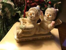 Lenox Classics Christmas 2001 Sledding Snowpals Snowman Ornament with box
