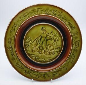 ANTIQUE HB BOULENGER CHOISY LE ROI FARMYARD MAJOLICA PLATE c.1890's - PERFECT