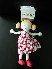 L6- DOUDOU POUPEE BERLINGOT 26 cms blonde robe rouge pois blanc - NEUF ETIQUETTE
