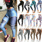 Fittoo Women Print Stretchy Leggings Square Proof Running Pants Compression Gym