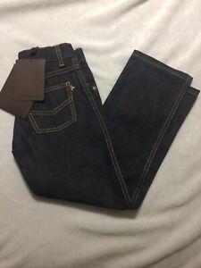 New Louis Vuitton Jeans Boys Size 6 # 617680 Denim Dark Tags Straight Leg Blue