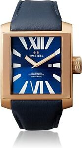 TW Steel Mens CE3018 CEO Goliath 42mm Blue Dial Dark Brown Leather Watch